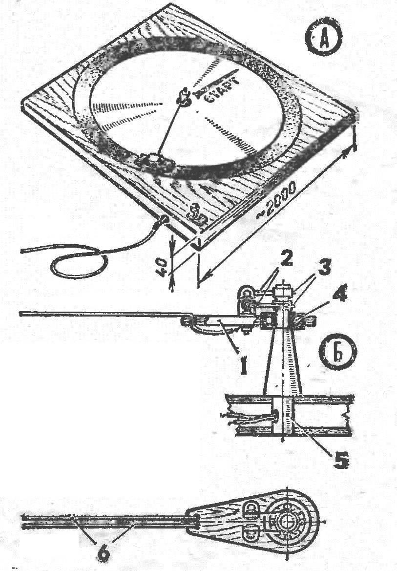 Настольный кордодром (А) и центральный узел (Б)