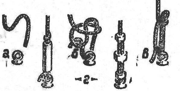 R and p. 3. Simulation of screw lanyard, the letters show the sequence of tying