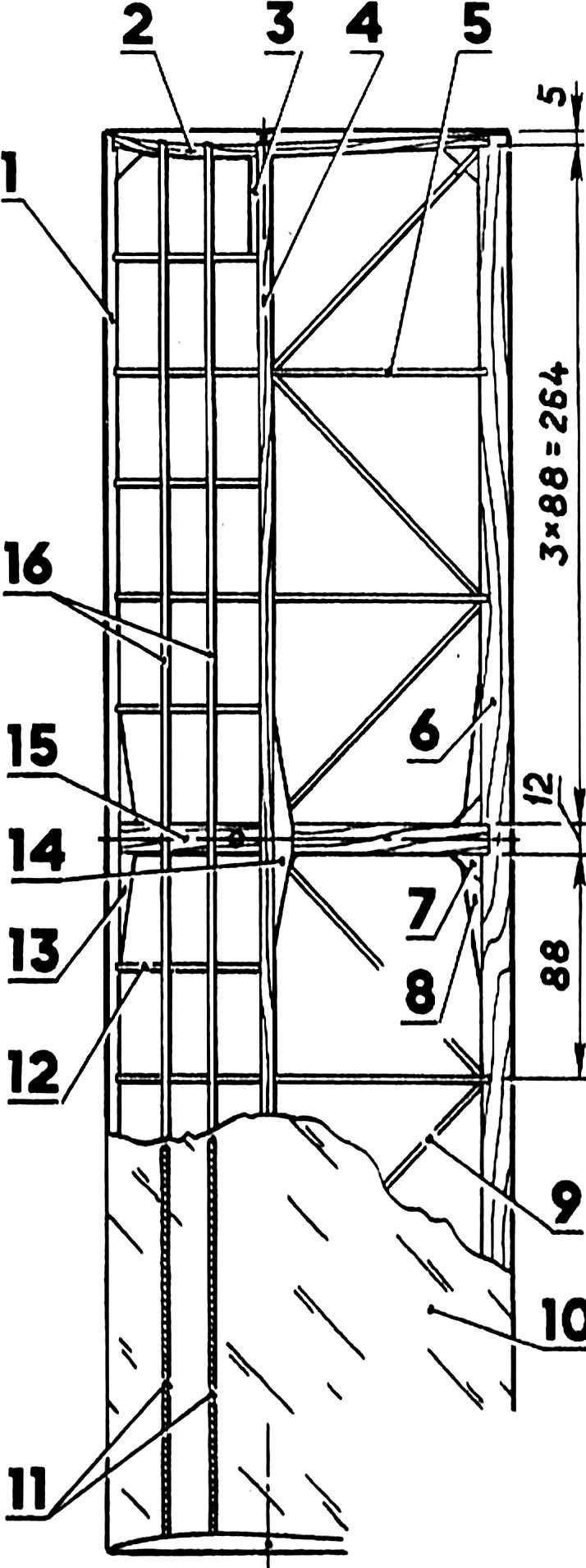 Рис. 3. Центральная часть крыла.