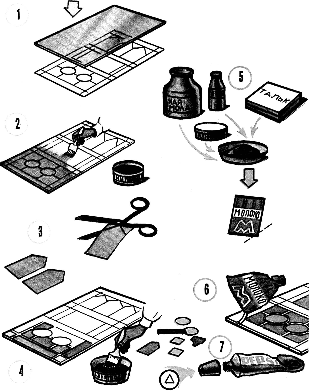 Рис. 2. Выклеивание витража с применением лоскутов ацетатного шелка.