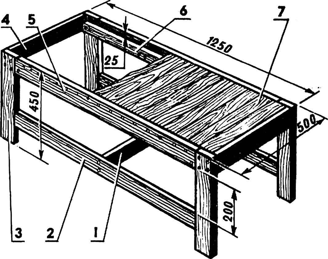 Рис. 4. Стол-лавка.