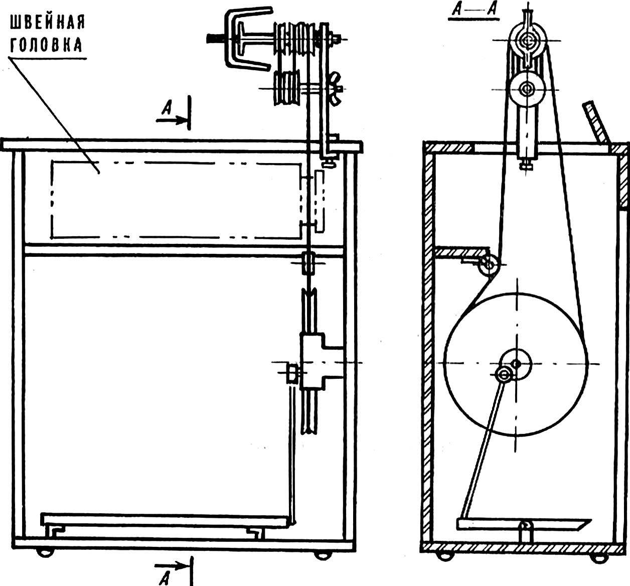 Монтажная схема установки приставки к швейной машине с ножным приводом.