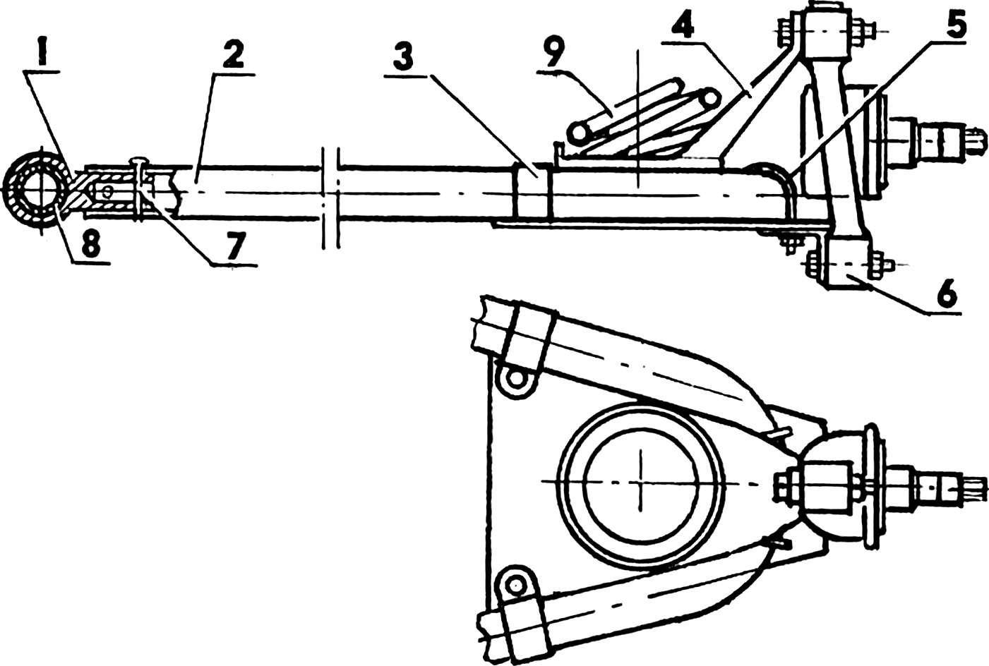 Transverse single-lever front suspension.
