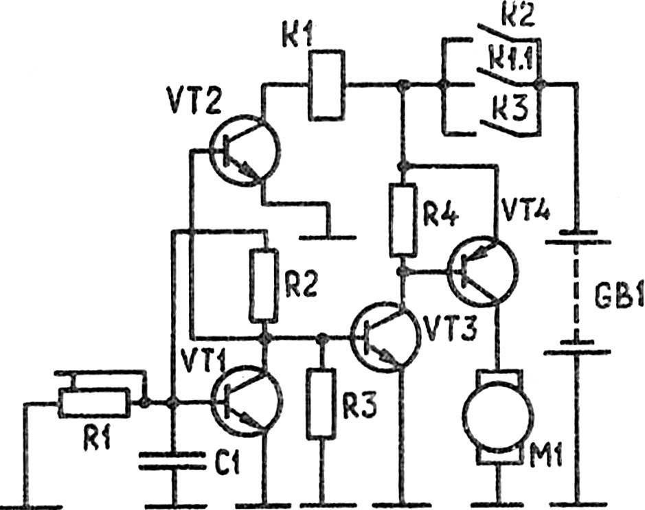 Рис. 2. Принципиальная схема электронного таймера с включением с помощью подносимого к герконам магнита.