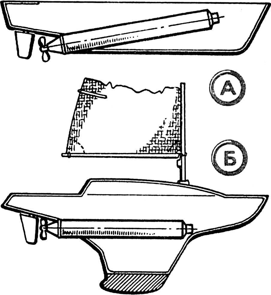 Рис. 4. Использование моноблока на промышленной модели судна (А) и на яхте «Арлекин» (Б).