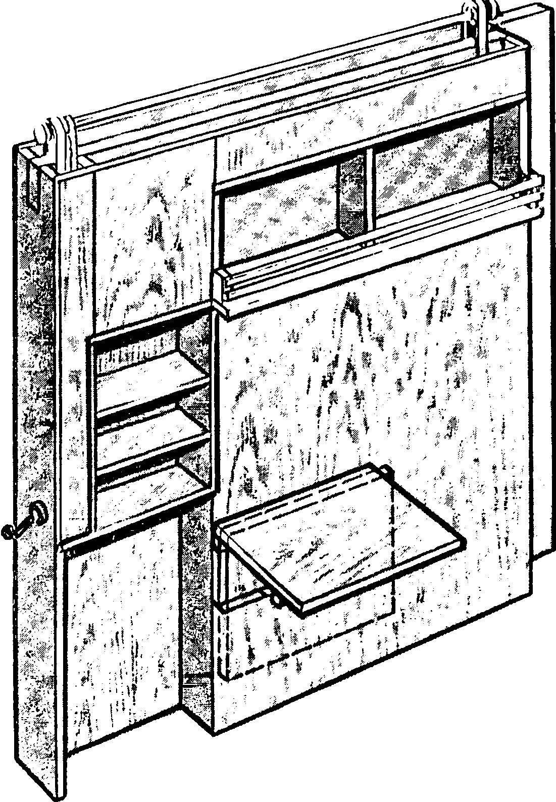 Подвесная передвижная стенка (показана со стороны кухонной ее части).
