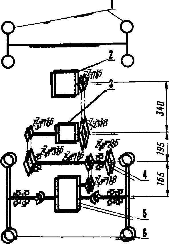 Рис. 2. Кинематическая схема трансмиссии с указанием межосевых расстояний валов.