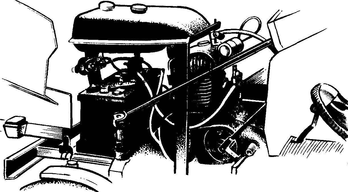 Рис. 7. Расположение узлов и деталей на раме (капот снят).
