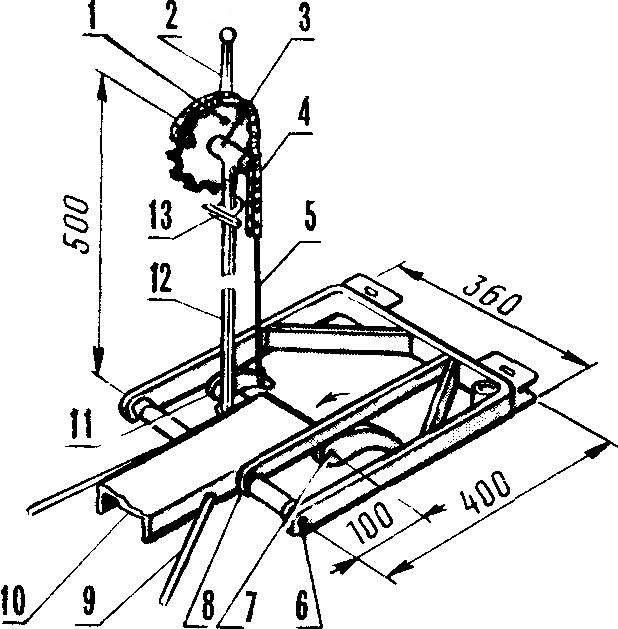 Рис. 8. Конструкция механического привода навески (со снятым фиксатором).