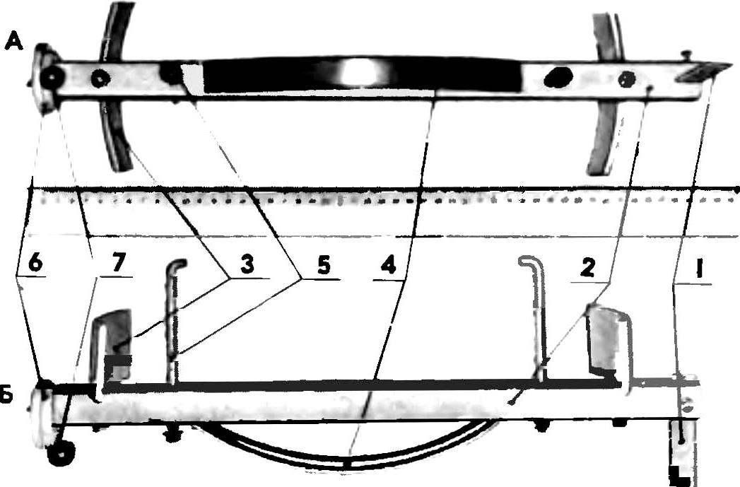 Цельнометаллический вариант приспособления (А — внешняя сторона приспособления, Б — боковая сторона).