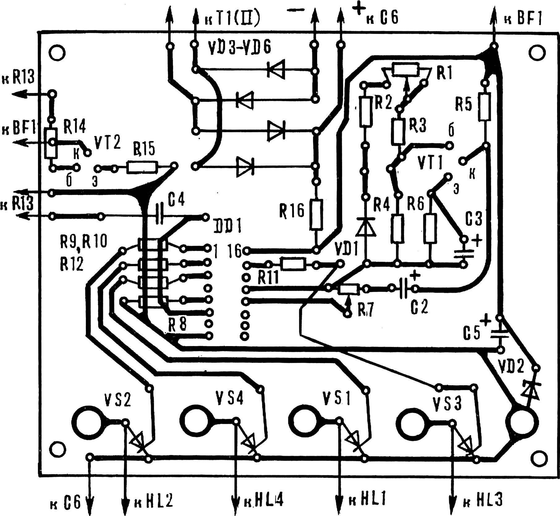 Монтажная плата устройства со схемой расположения элементов.