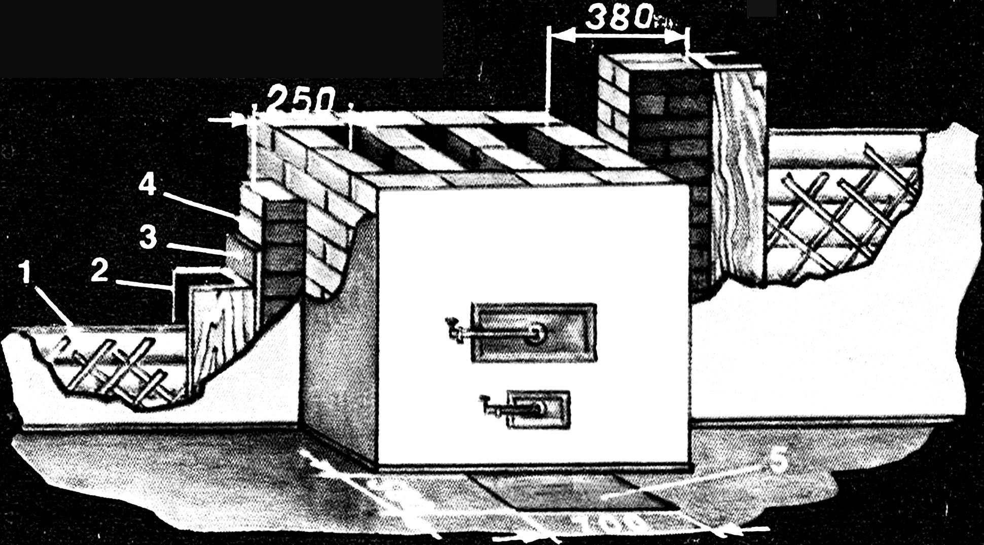 Разделка печи, установленной в проеме стены.