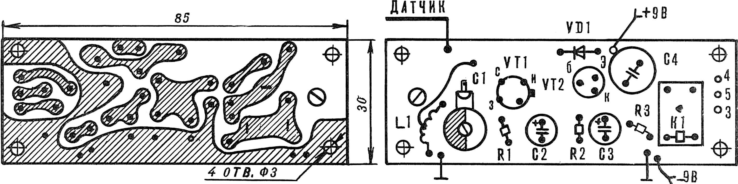 Рис. 2. Печатная плата устройства со схемой расположения элементов.