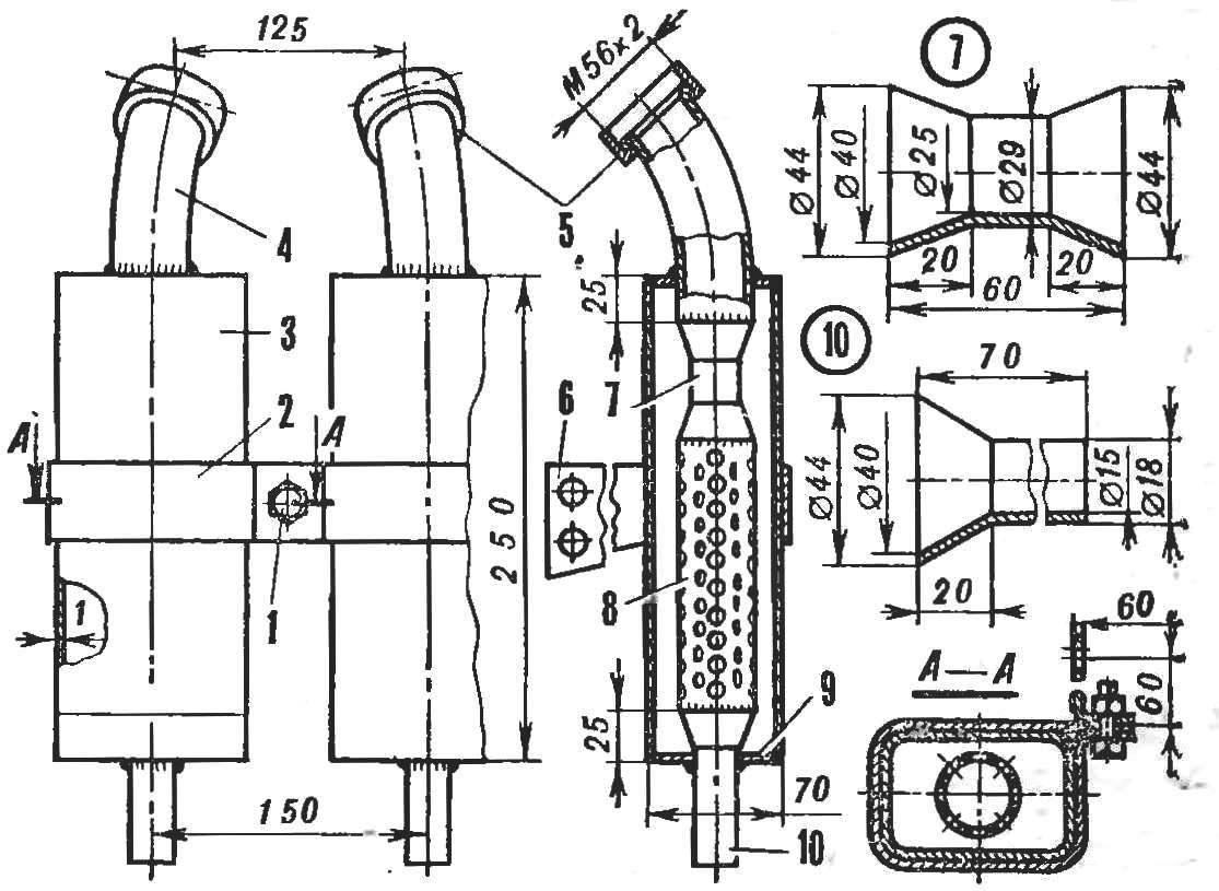 Глушитель на двигатель своими руками 705