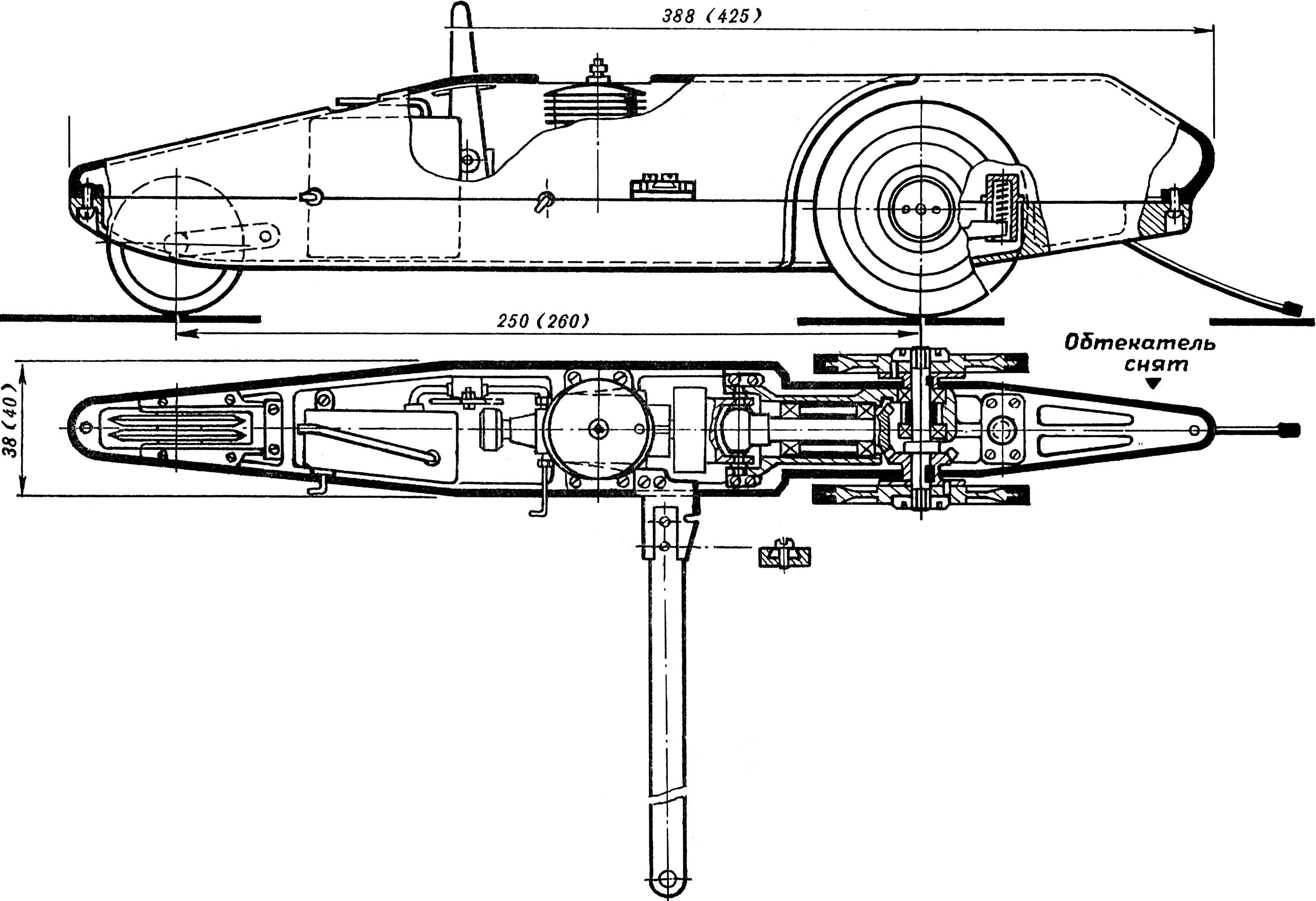 Рис. 1 Кордовая гоночная модель класса Е-1 и Е-2. В скобках указаны размеры, соответствующие варианту модели класса Е-2.