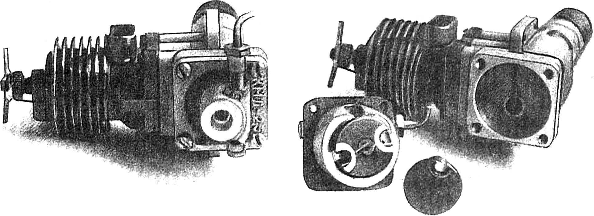 Доработанный двигатель КМД-2,5 в сборе, справа — двигатель со снятой задней крышкой катера.