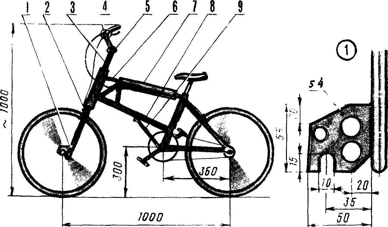 Рис. 1. Основные доработки серийного складного велосипеда применительно к кроссовому варианту.