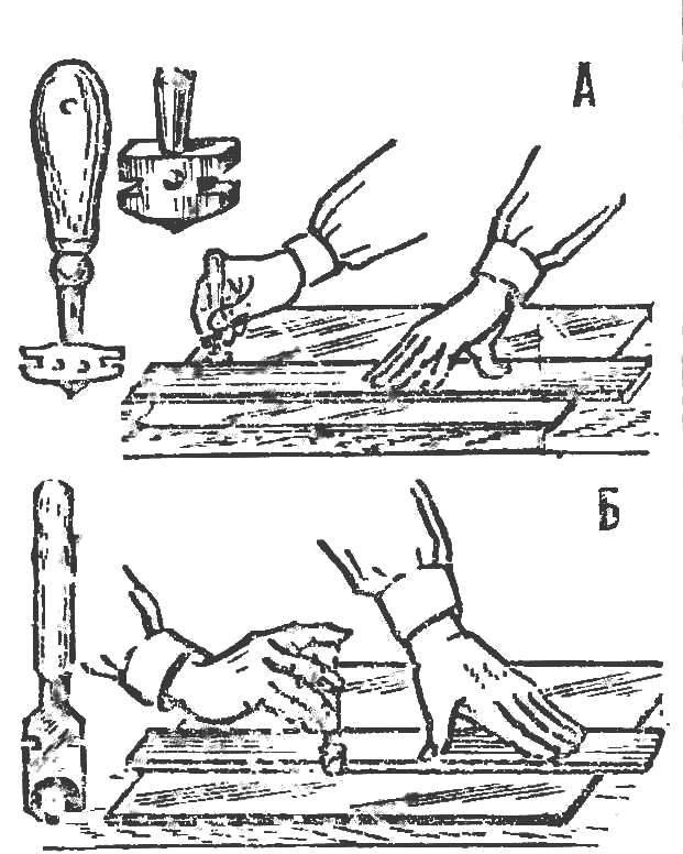 Р и с. 3. Резание стекла: алмазом, Б — роликом.