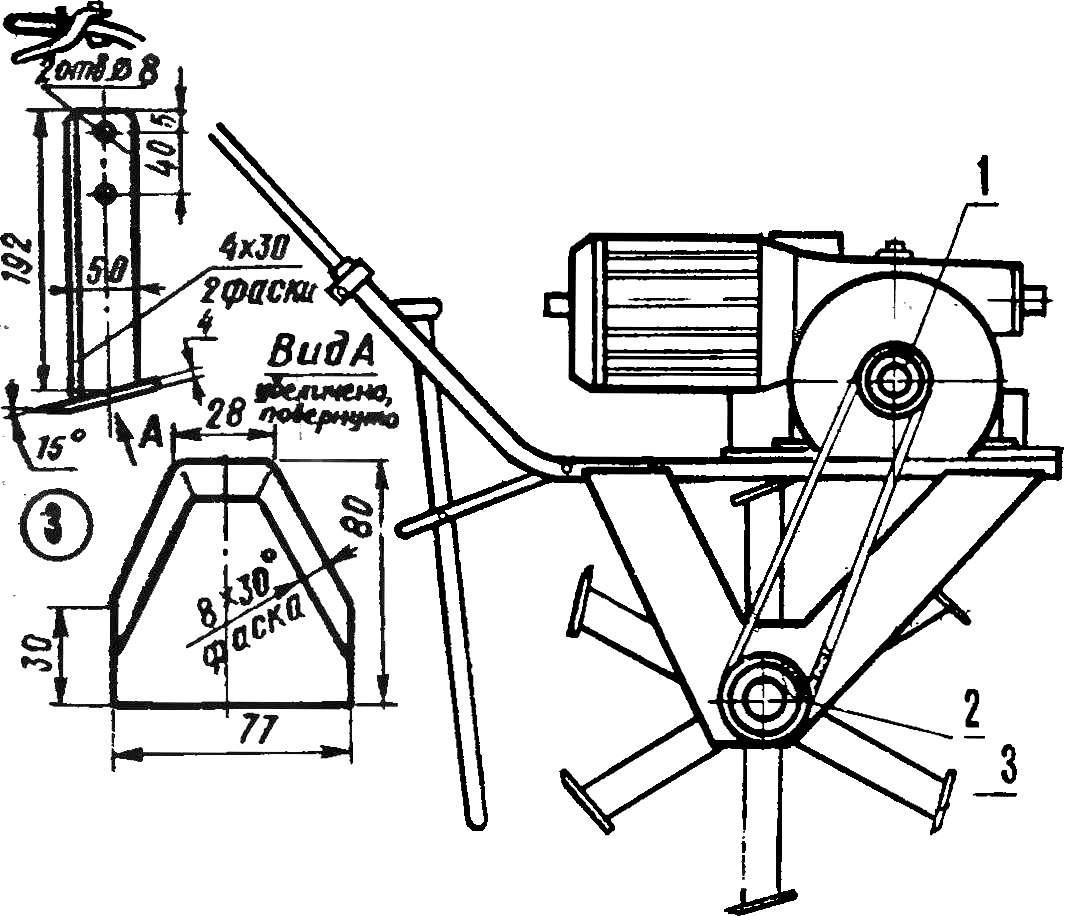 Рис. 2. Электрофреза со снятыми транспортировочными колесами.