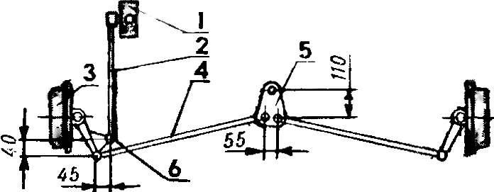 Схема рулевого управления микроавтомобиля.