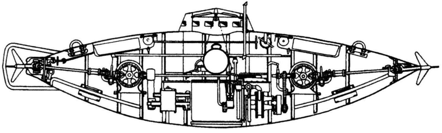 «Подводный минный аппарат» (второй вариант подводной лодки) С.К. Джевецкого. России, 1879 г.