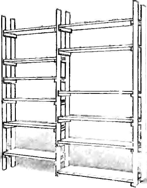 Вверху — вариант простейшего универсального стеллажа.