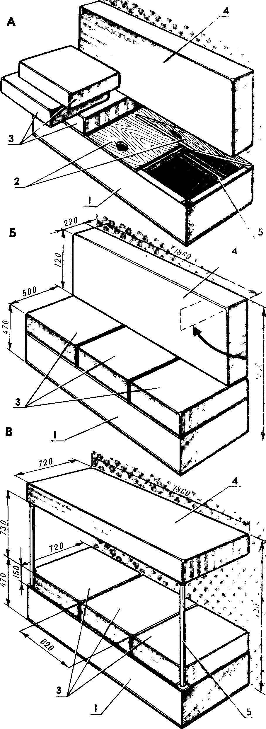 Рис. 2. Функциональные возможности дивана-купе.