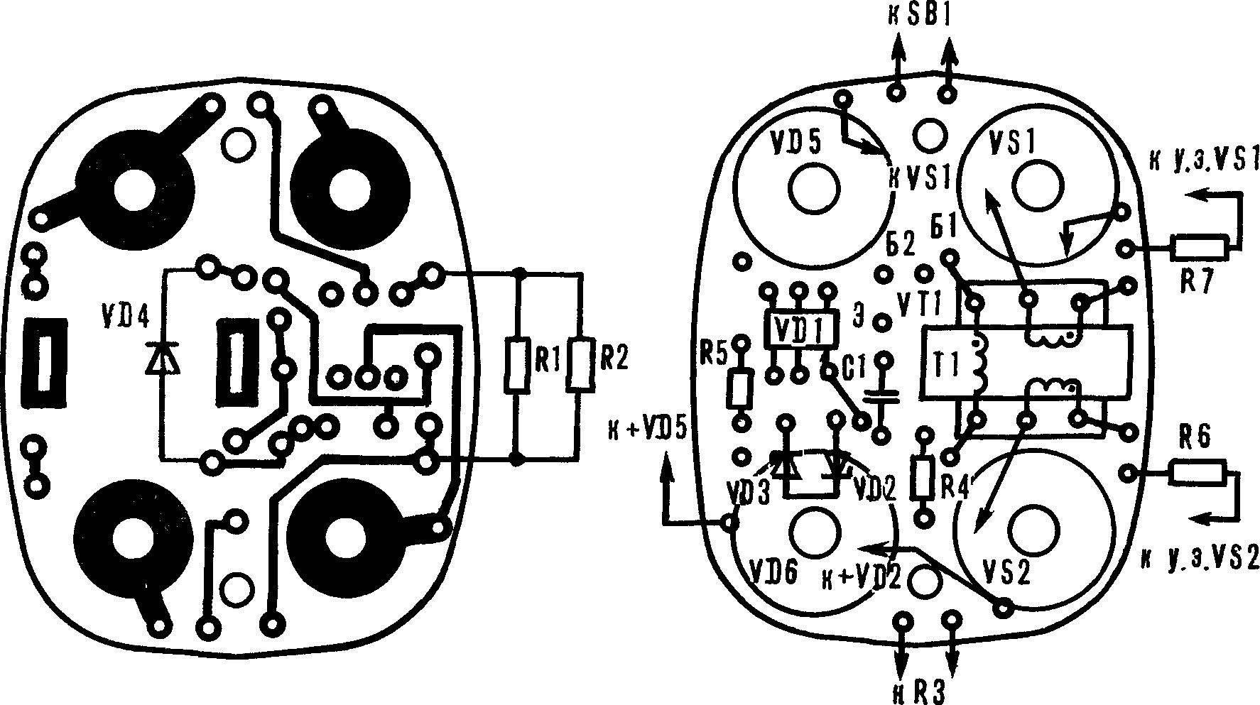 Монтажная плата регулятора со схемой расположения элементов.