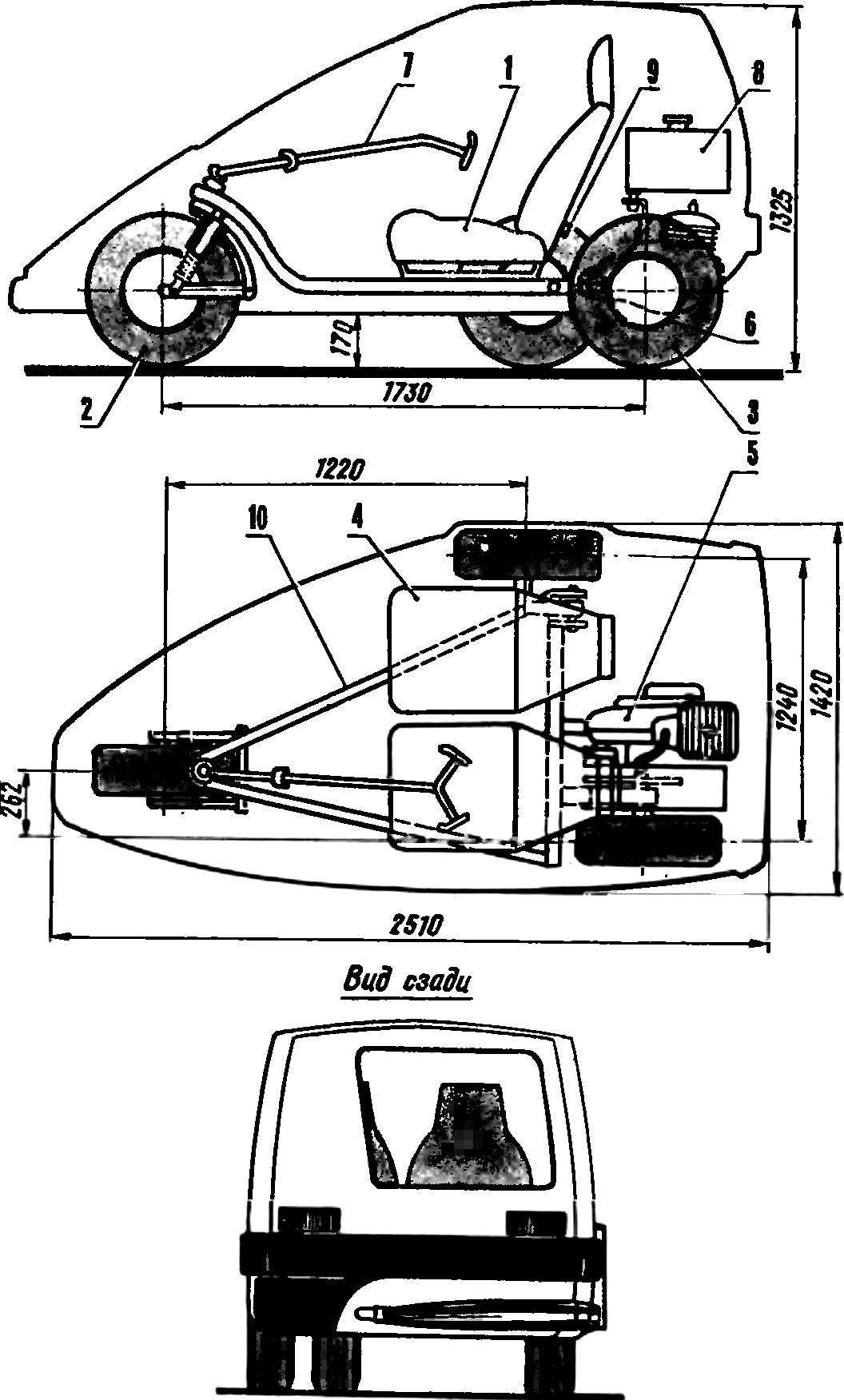 Рис. 1. Компоновка мотомобиля «Векша».