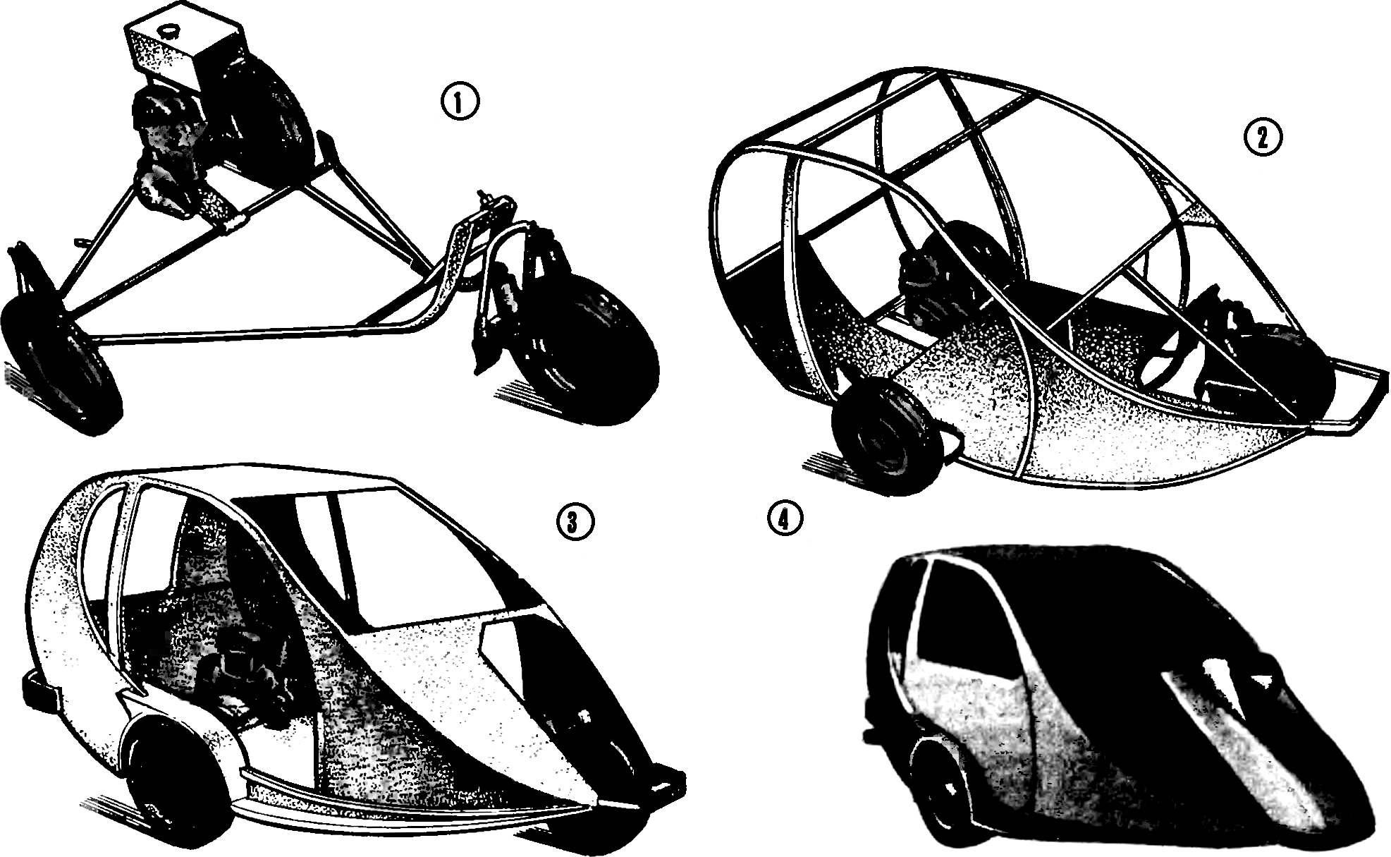 Рис. 3. Мотомобиль «Векша» на различных этапах его изготовления.