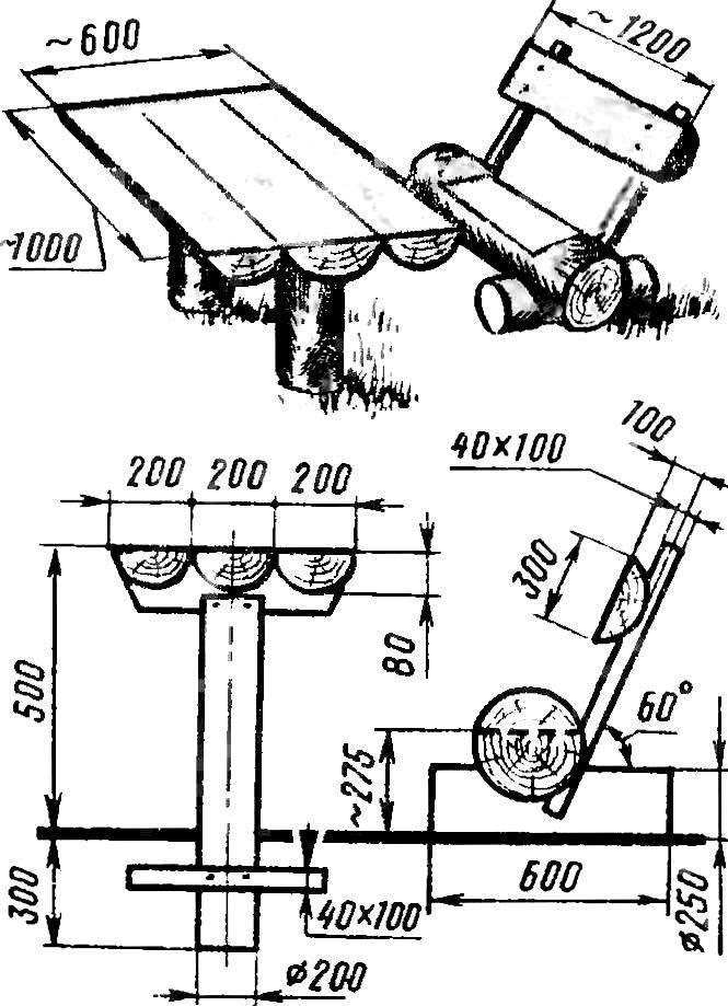 Уголок отдыха (стол и скамья).