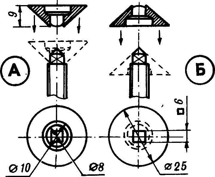 Варианты положений опоры струбцины на винте.