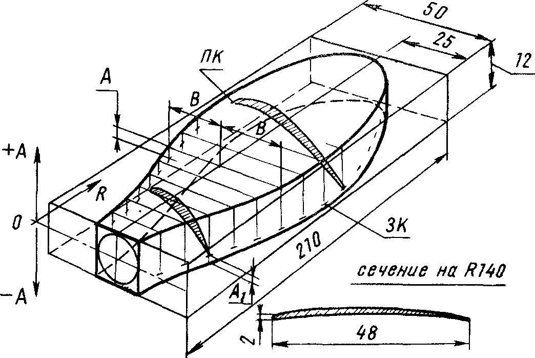 Разметка заготовки лопасти воздушного винта.