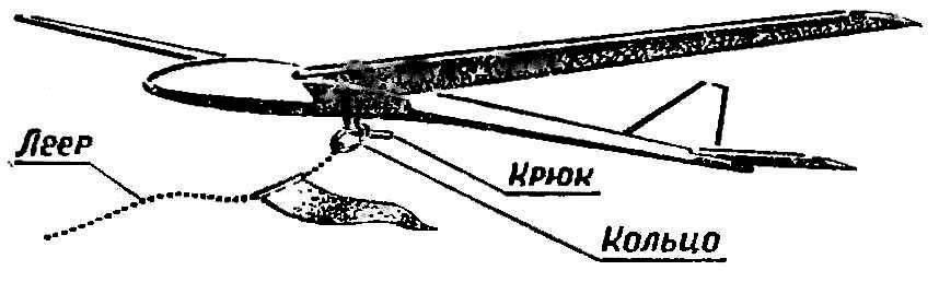 Обычная схема подвески модели планера на леере.
