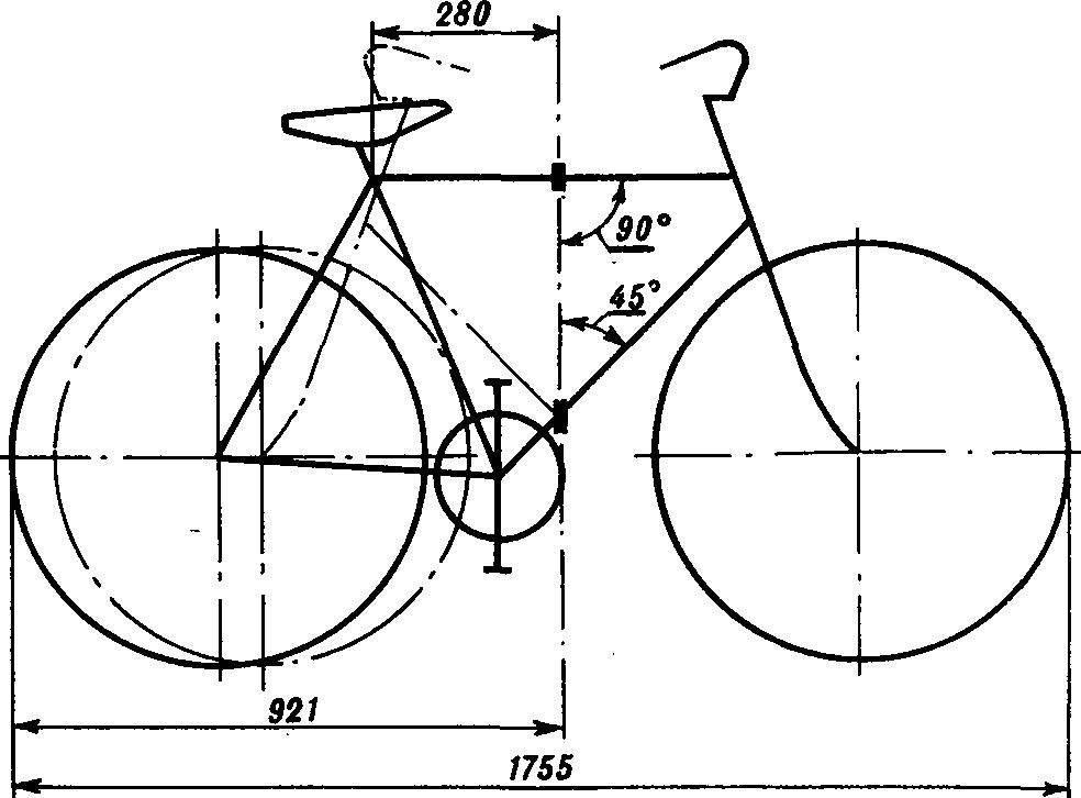 Геометрическая схема складного велосипеда.