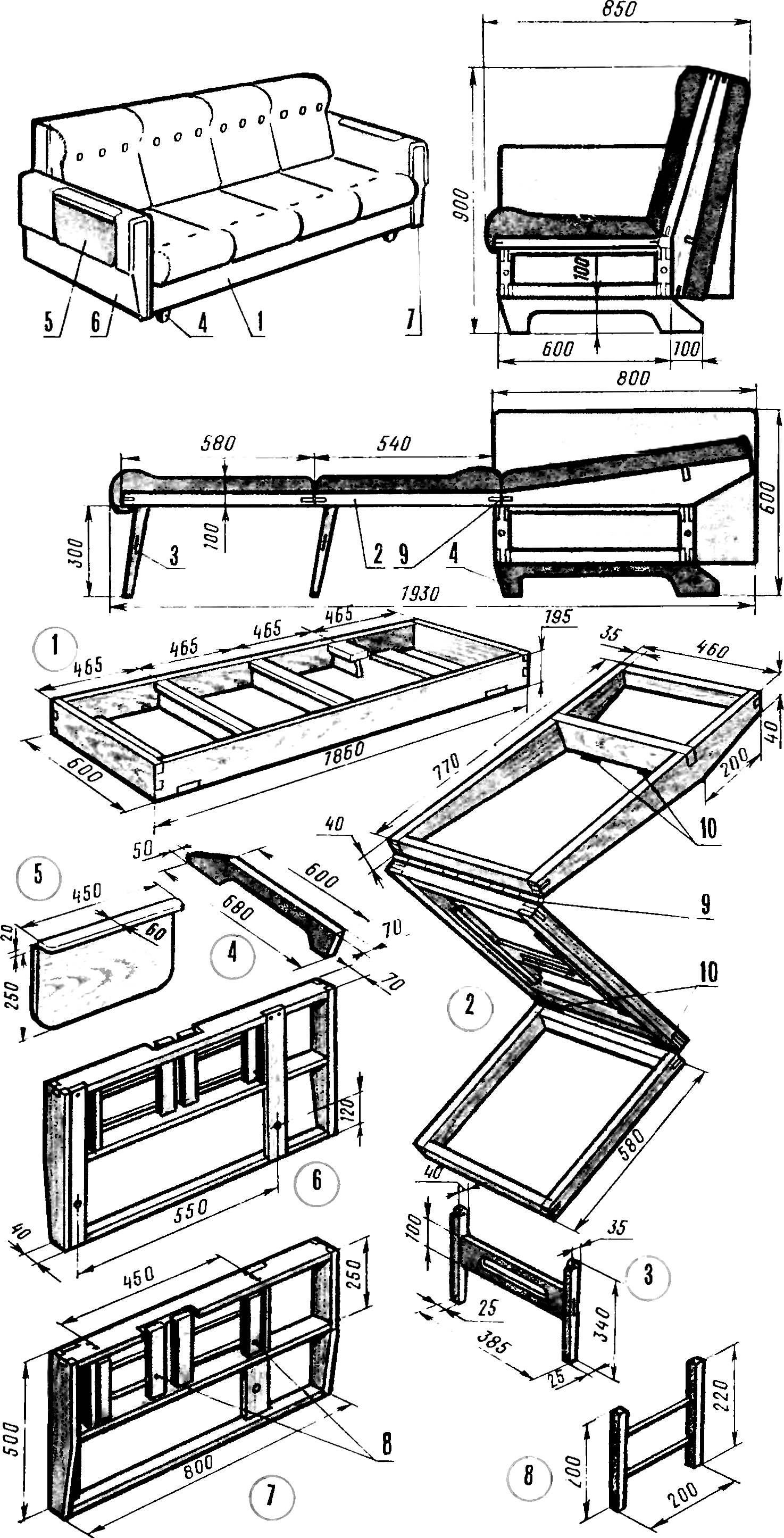Изготовление мягкое мебели своими руками с чертежами