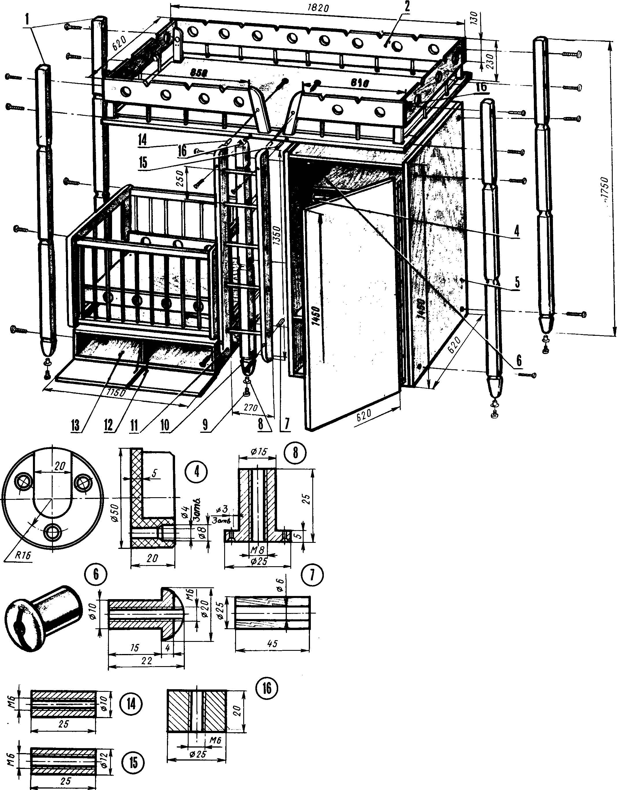 Двухэтажный детский гарнитур (схема сборки).