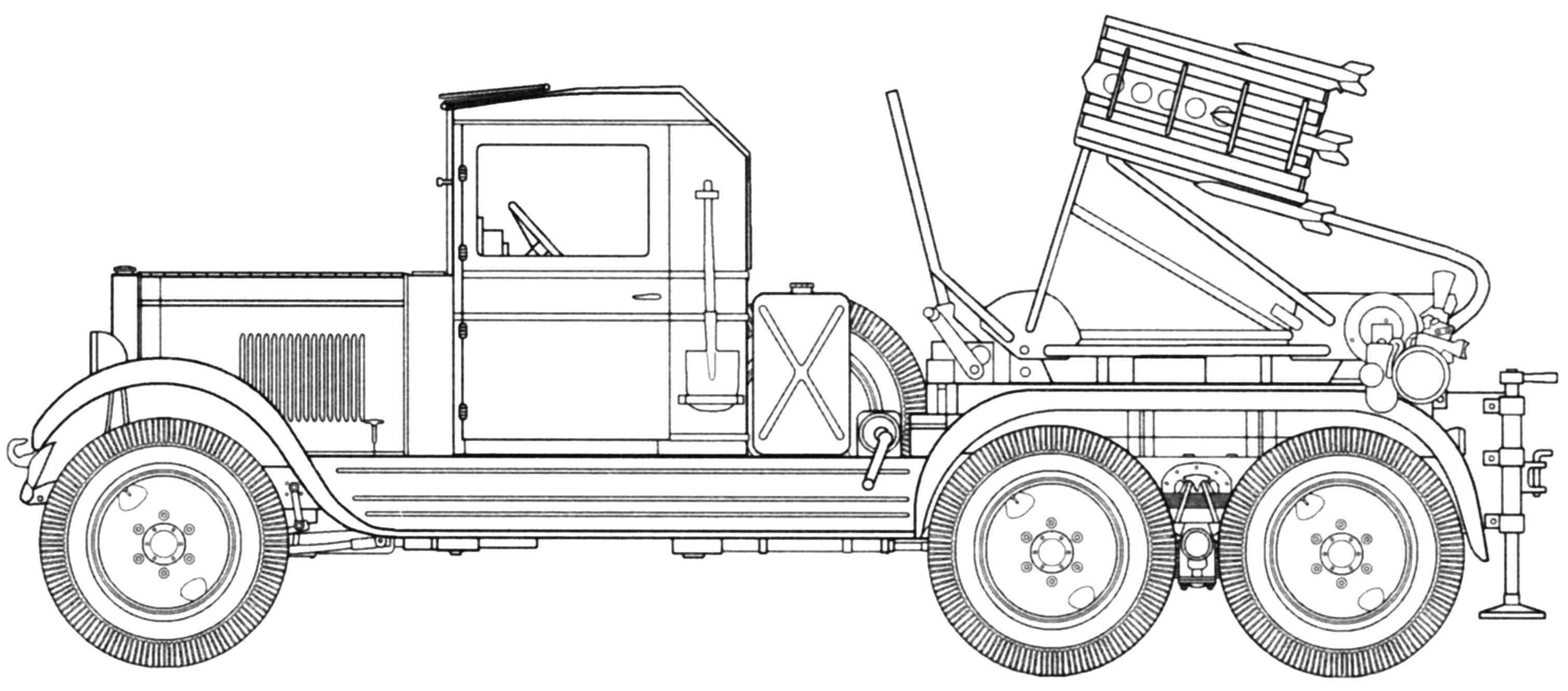 Установка БМ-8-36 на шасси ЗИС-6