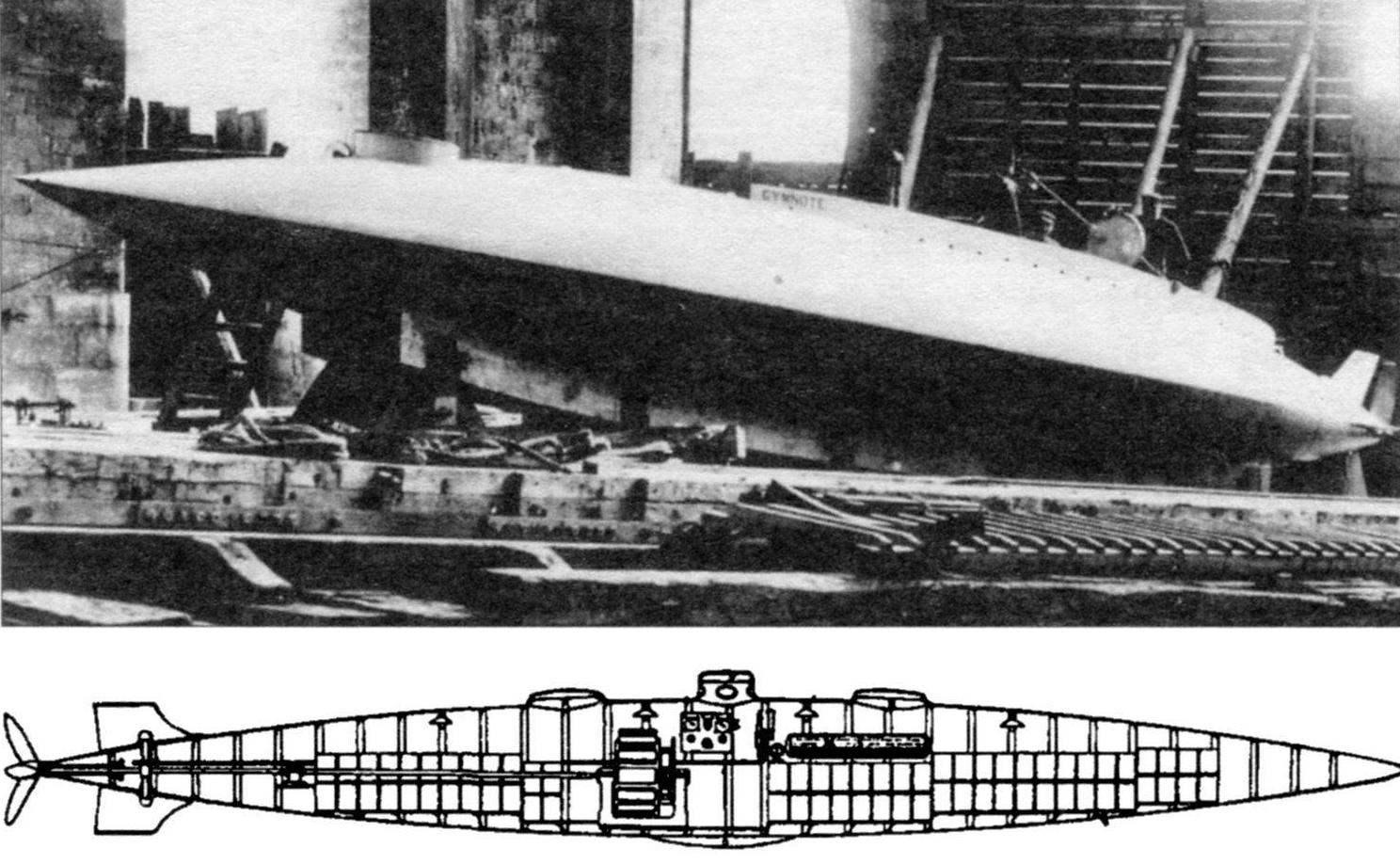 Первоначальная схема субмарины Gimnote («Электрический угорь»)