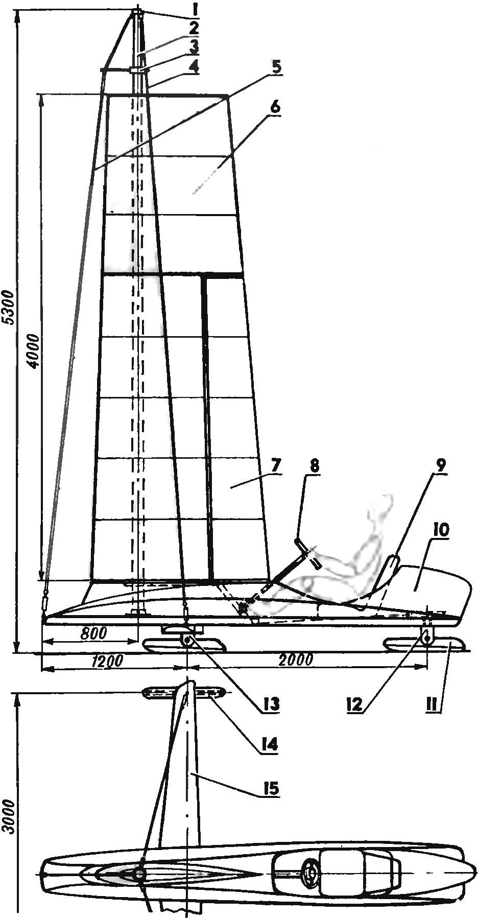 Буер с механизированным паруcом-крылом/