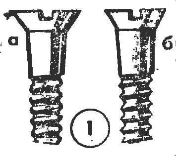 Р и с. 1. Шуруп с тупой нромной резьбы (а) и с острой (б)