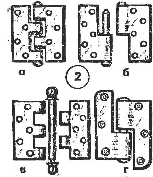 Рис. 2. Виды петель: неразъемная «форточная» (а), полушарнирные (б, г), со съемным стержнем (в)