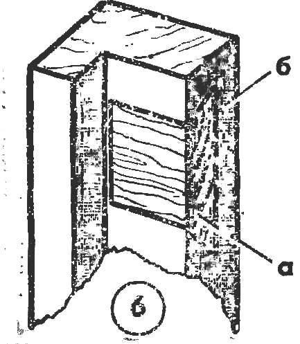 Рис. 6. Усиливающая вставка (а) под шурупы петли в коробке (б)