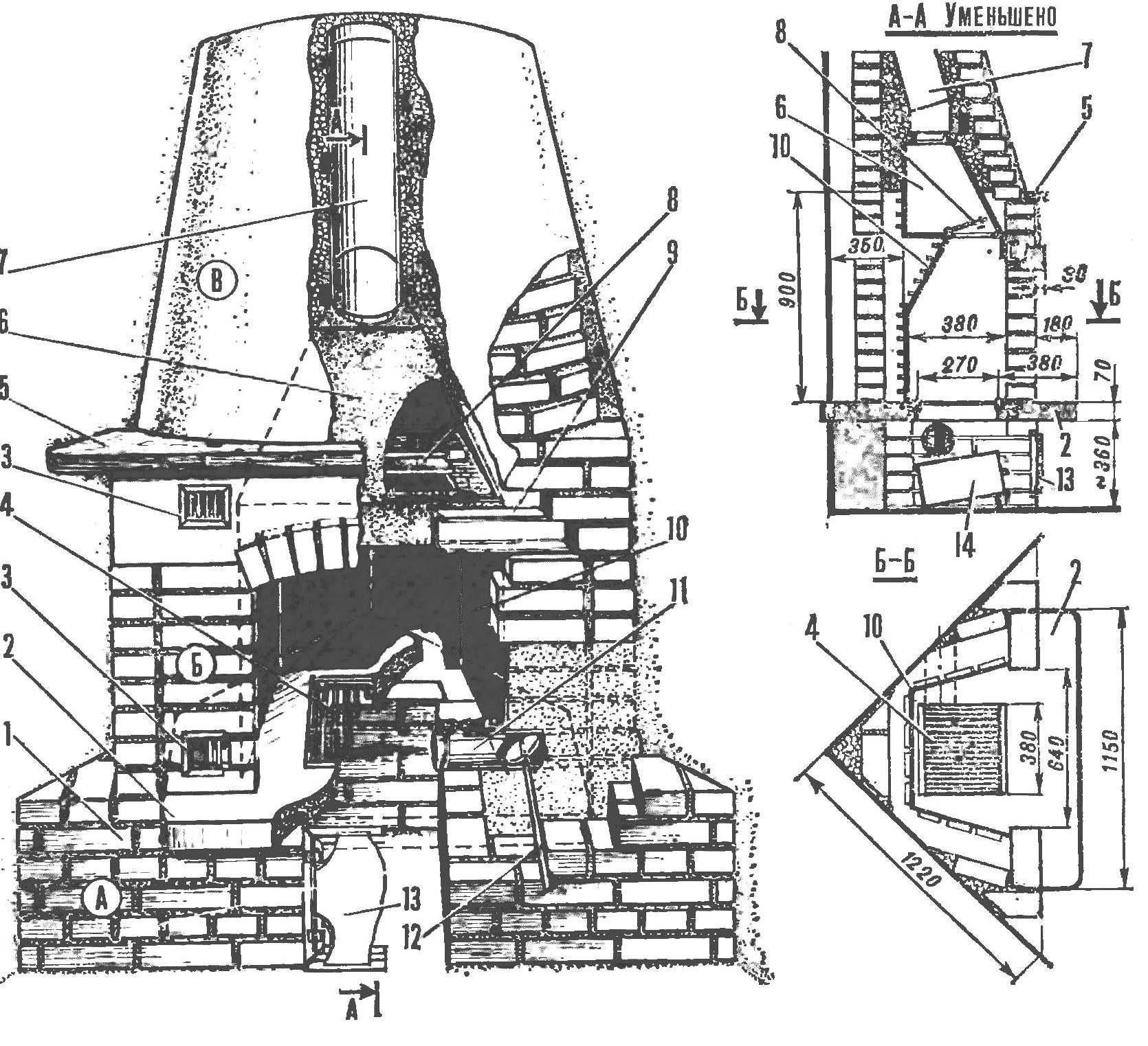 Рис. 1. Схема камина