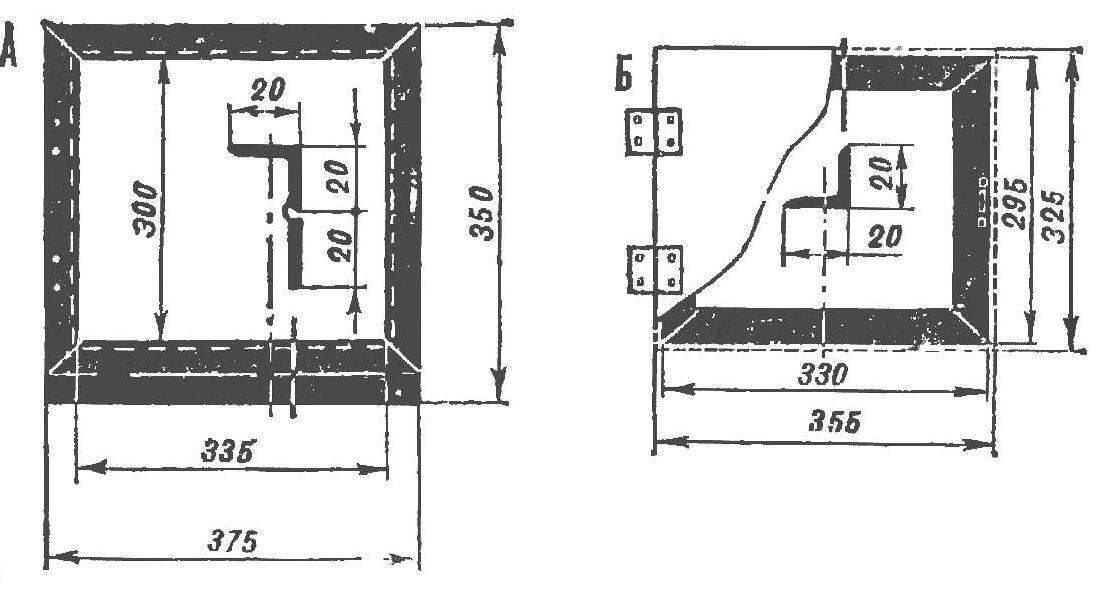 Рис. 2. Рамка зева золосборника (А) и дверка (Б).