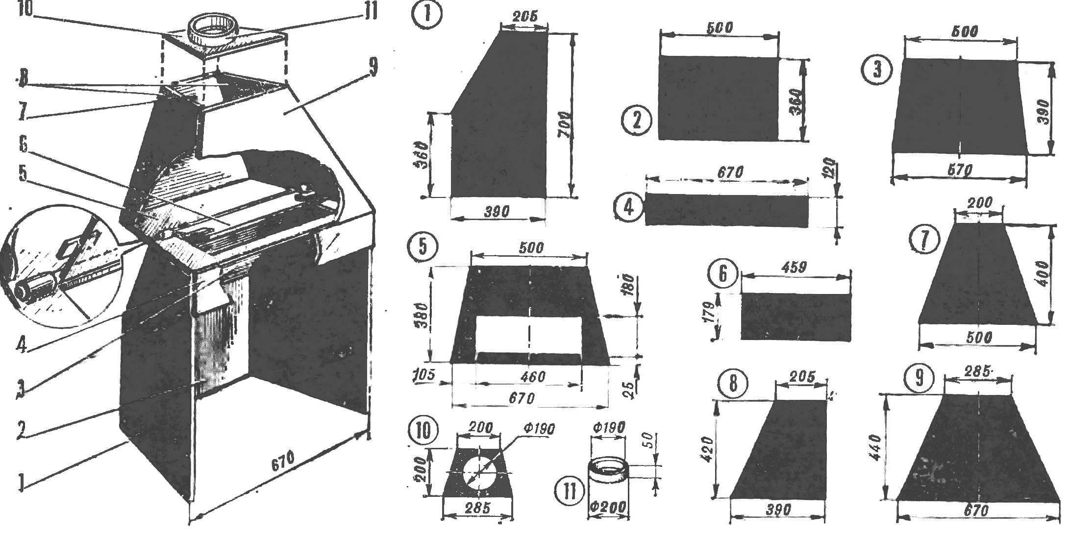 Рис. 4. Металлическая топка и ее элементы