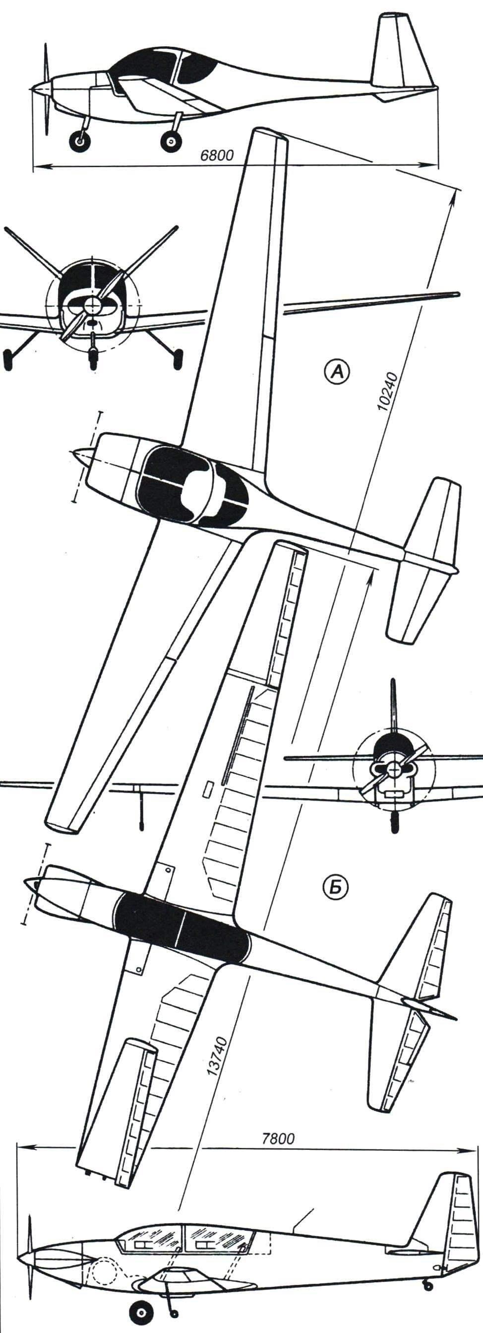 Французские двухместные самолёты с крылом большого удлинения