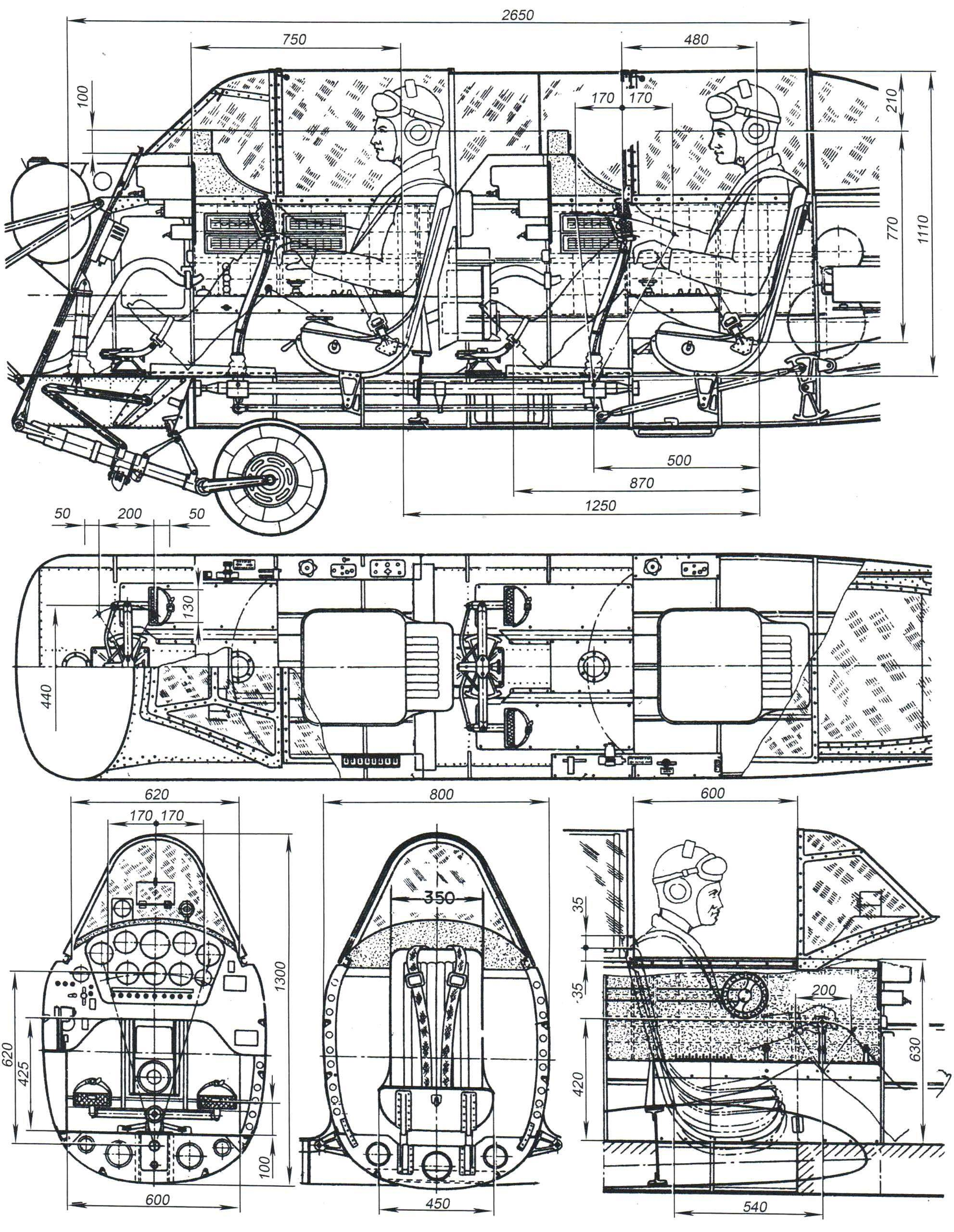 The layout of the cockpit of the Yak-52