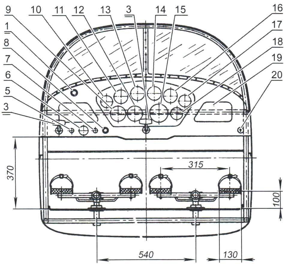 Компоновка кабины самолёта Як-20
