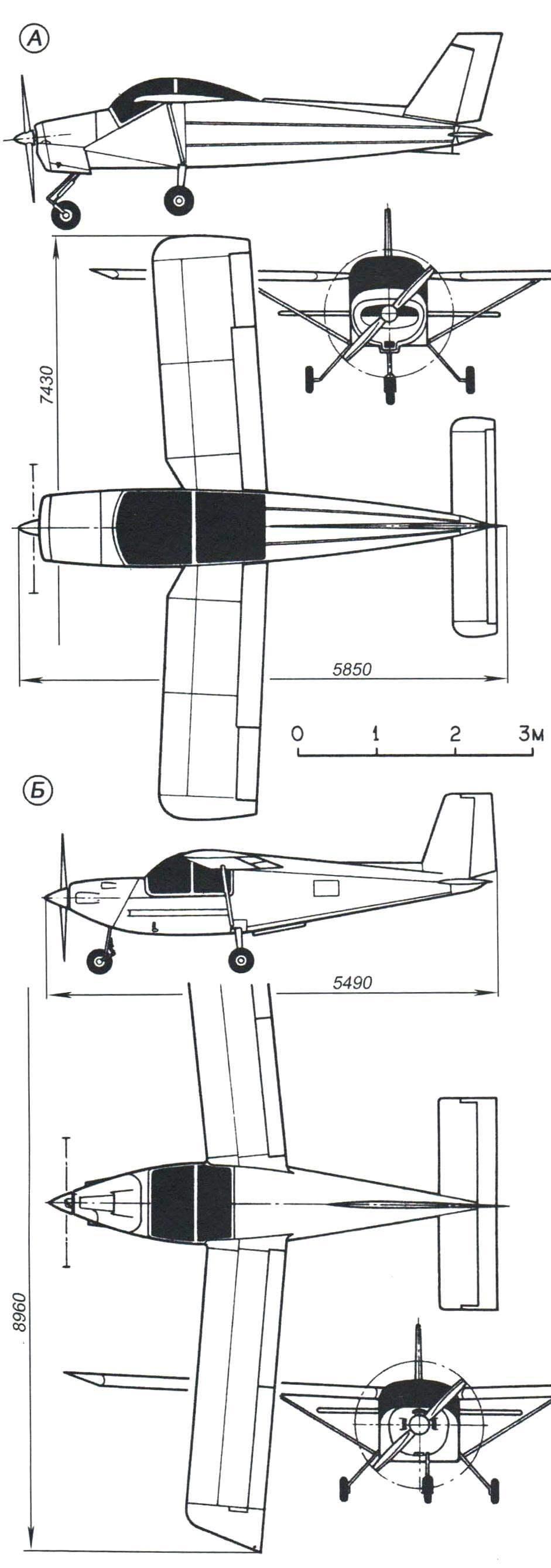 Лёгкие двухместные учебные самолёты-высокопланы с «автомобильным» расположением пилотов